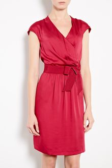 Love Moschino Red Cap Sleeve Silk Mix Dress - Lyst