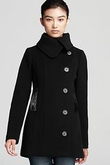 Mackage Effie Double Breasted Pea Coat with Leather Trim - Lyst