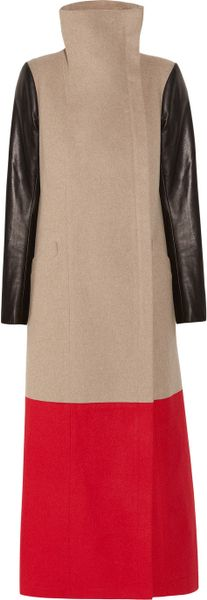 Mason By Michelle Mason Colorblock Wool and Cashmere Blend Coat in Beige (oatmeal)