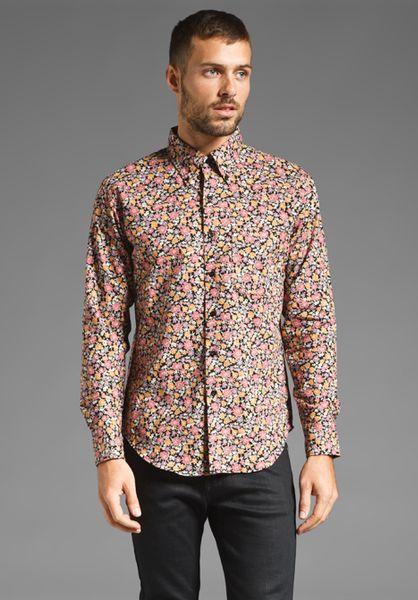 Naked & Famous Regular Shirt in Floral Print in Multicolor for Men
