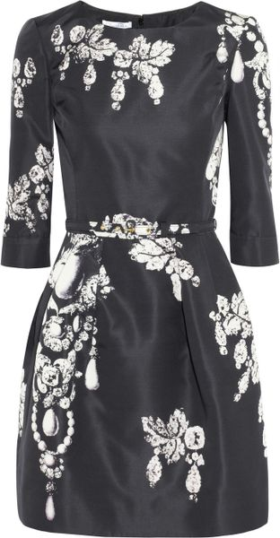 Oscar De La Renta Printed Silk-Faille Dress in Black - Lyst