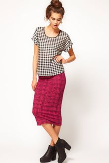 River Island Check Print Tube Skirt - Lyst