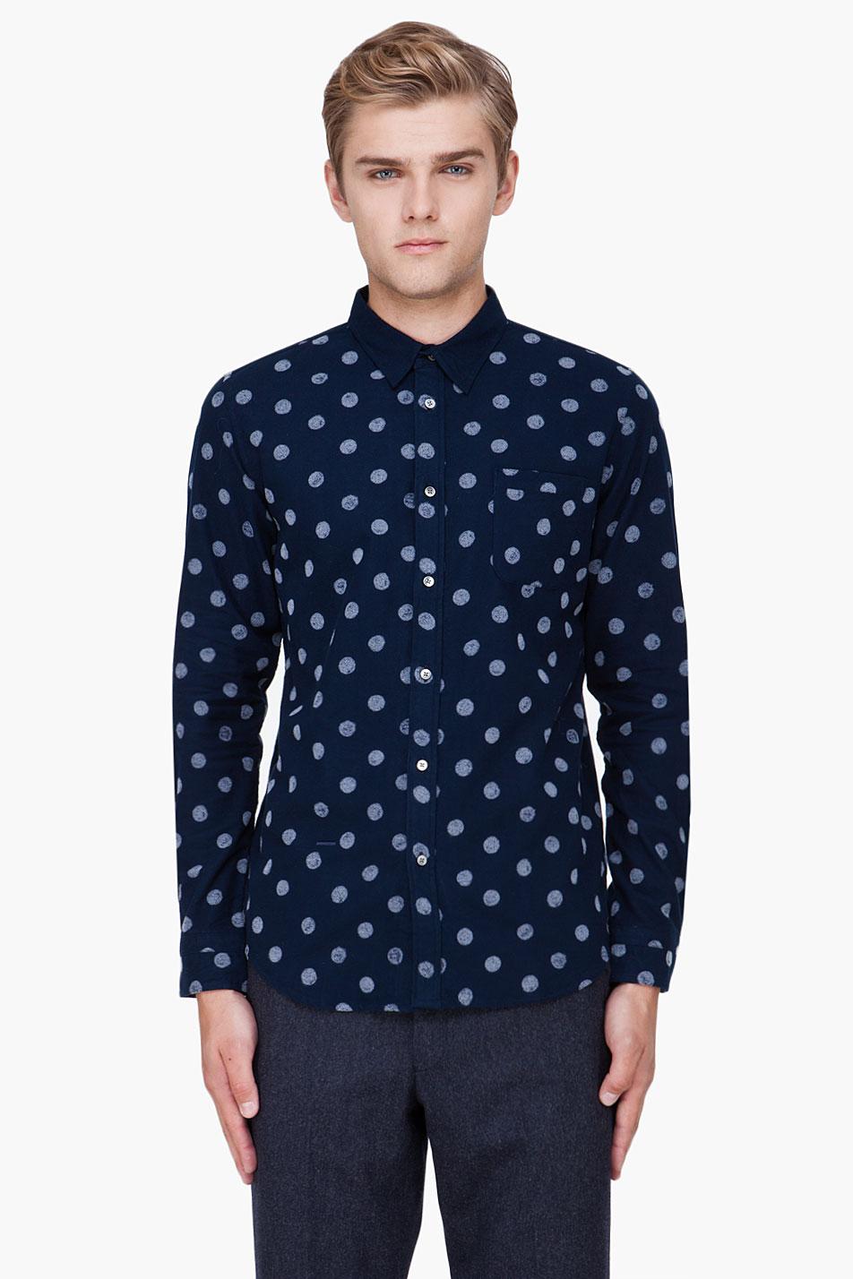Robert geller navy polka dot print shirt in blue for men for Dotted shirts for mens
