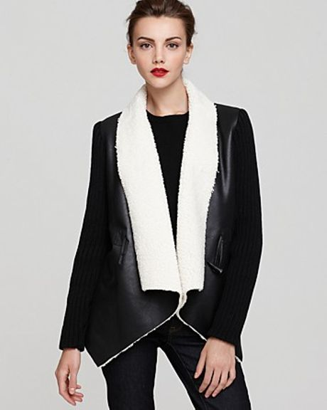 Sam Edelman Sherpa Wrap Coat with Knit Sleeves in Black - Lyst