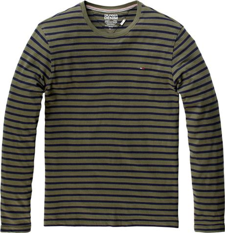 Tommy Hilfiger Hanson Long Sleeved Striped Tshirt in Gray for Men (green)