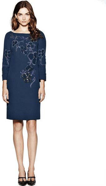 Tory Burch Issy Beaded Dress in Blue - Lyst