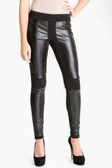 Trouvé Faux Leather Panel Leggings - Lyst