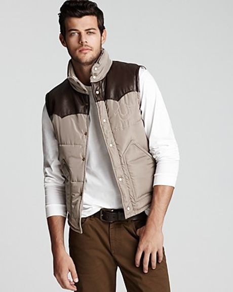 True Religion Western Puffer Vest In Brown For Men Khaki