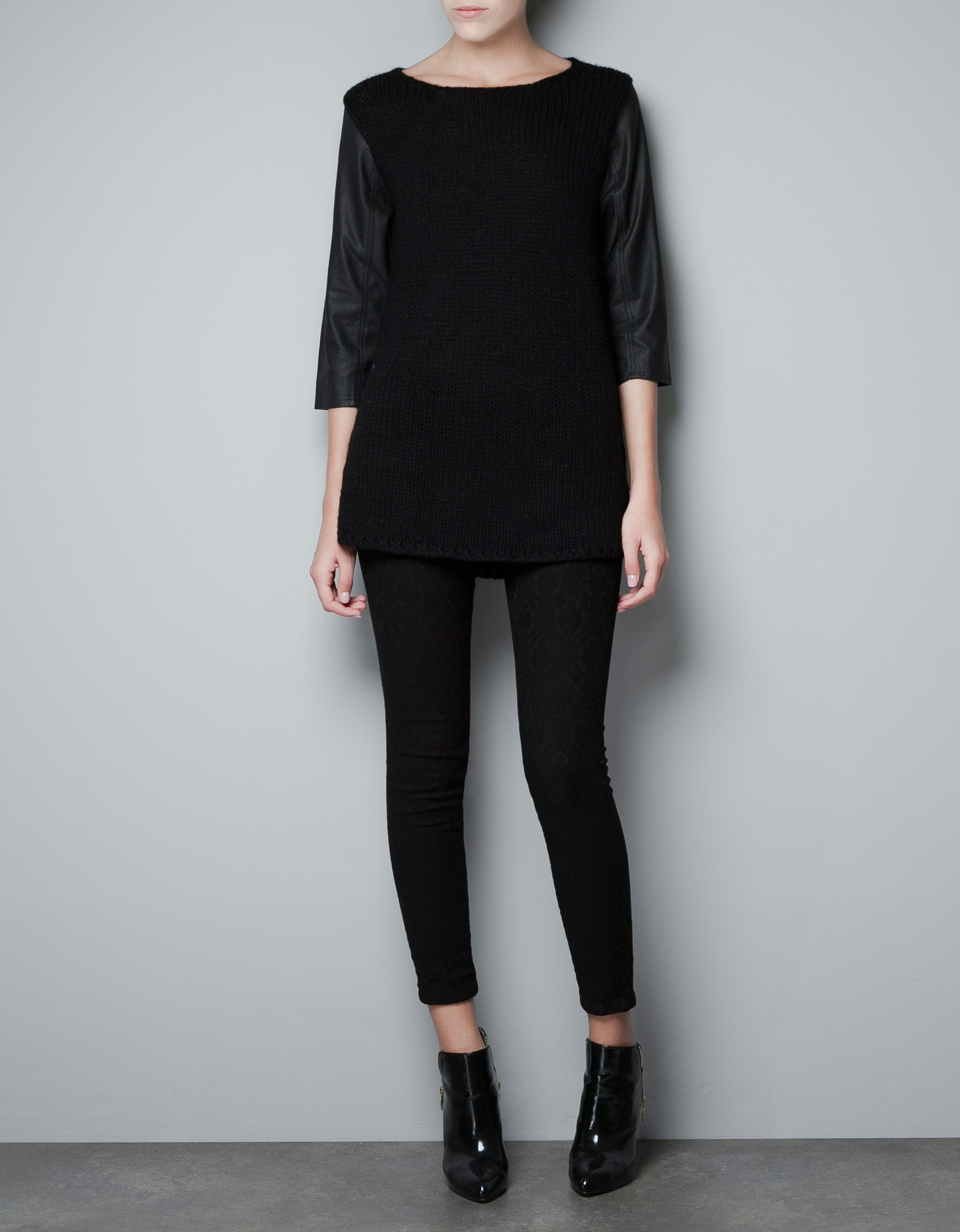 Sweater With Faux Leather Sleeves Zara - Lera Sweater - photo #25