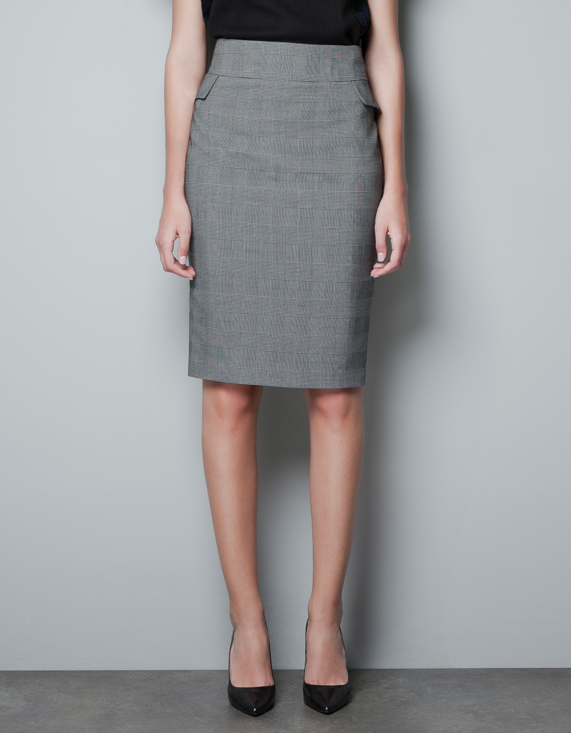 zara checked pencil skirt in gray grey lyst