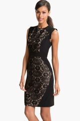 Adrianna Papell Lace Inset Crepe Sheath Dress - Lyst