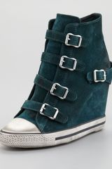 Ash Buckled Suede Wedge Sneaker - Lyst