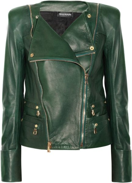 Balmain Leather Jacket in Green - Lyst