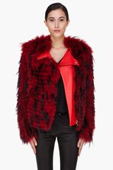 Balmain Red Raccoon Fur Jacket - Lyst