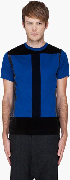 Christopher Kane Blue Flock Panel Tshirt in Blue for Men - Lyst