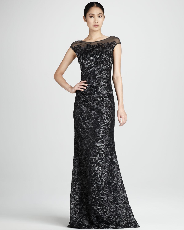 Lyst - David Meister Beaded Illusion Dress in Black