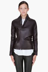 Hussein Chalayan Espresso Padded Leather Jacket - Lyst