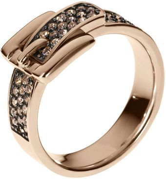 Michael Kors Pave Buckle Ring Rose Golden - Lyst