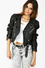 Nasty Gal Chopped Moto Crop Jacket - Lyst