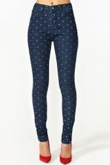 Nasty Gal Dixie Skinny Jeans Polka Dot in White - Lyst
