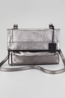 Olivia Harris Metallic Unzipped Foldover Messenger Bag - Lyst