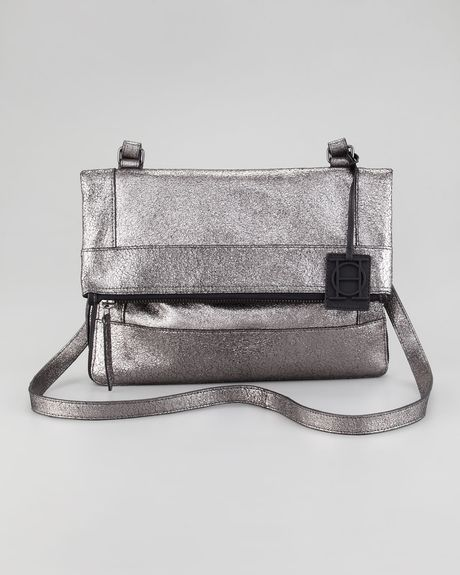 Olivia Harris Metallic Unzipped Foldover Messenger in Silver (metallic) - Lyst