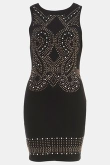 Topshop Studded Bodycon Dress - Lyst