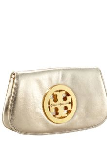 Tory Burch Metallic Logo Clutch with Chain - Lyst