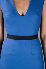 Victoria Beckham Sleeveless Dress in Blue - Lyst