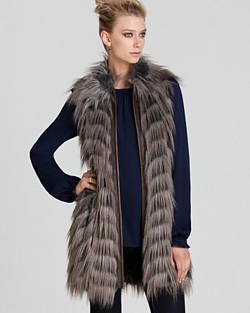 01139b68b67 Lyst - Rachel Zoe Vest Marianne Ii Faux Fur Long in Gray