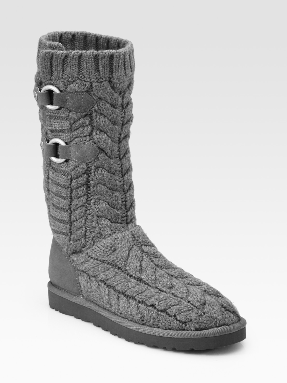 Ugg Tularosa Route Cable Knit Knee High Boots In Gray
