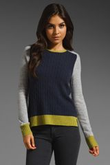 Autumn Cashmere Color Block Zip Back Sweater - Lyst