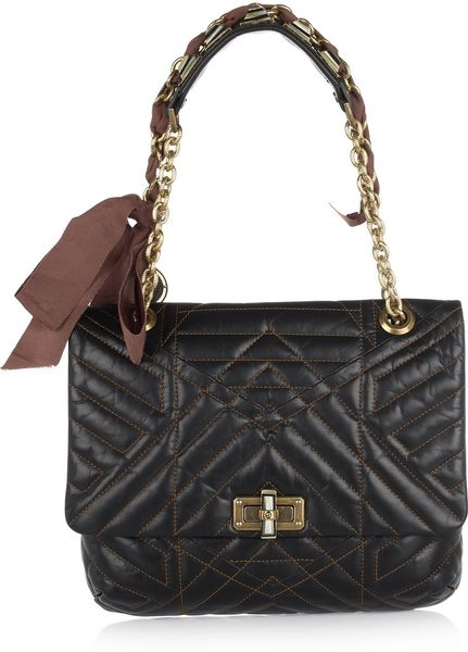 Lanvin Happy Birthday Quilted Leather Shoulder Bag in Black