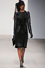 Marios Schwab Black Coat in Leather and Figured Velvet in Black - Lyst