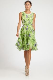 Oscar de la Renta Floral Silk Dress - Lyst