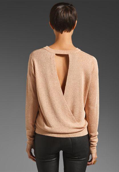Parker Glimmer Knit Open Back Sweater in Beige (apricot ...