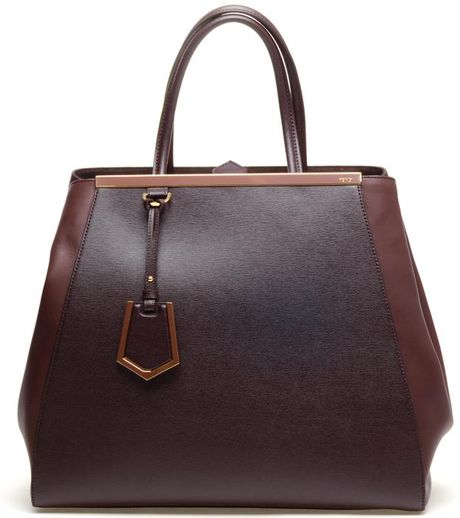 Fendi Contrasting Leather Shopper Bag in Brown - Lyst