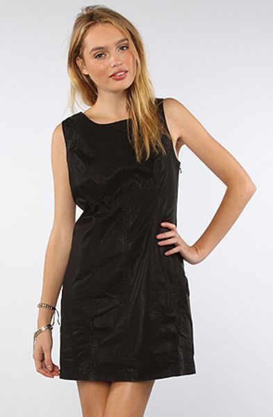 Free people dress embroidered vegan leather shift in black