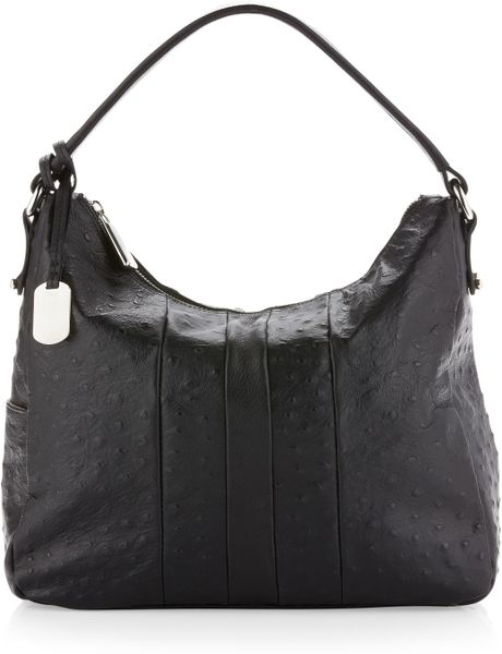 Furla Soho Ostrich Embossed Hobo Onyx in Black (onyx) - Lyst