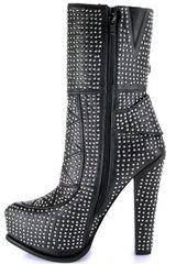 Jeffrey Campbell Sirius Black Leather Studded Platform Bootie in Black - Lyst