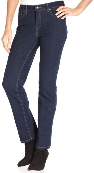 Jones New York Signature Jeans Lexington Straightleg Jeans Indigo Blue Wash - Lyst