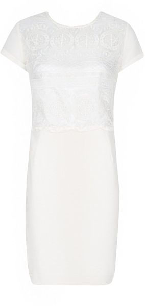 Mango Ladylike Embroidered Dress in White (off white)