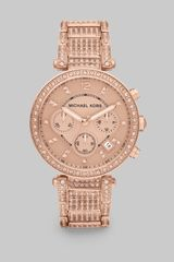 Michael Kors Camille Round Rose Goldtone Stainless Steel Chronograph Bracelet Watch - Lyst