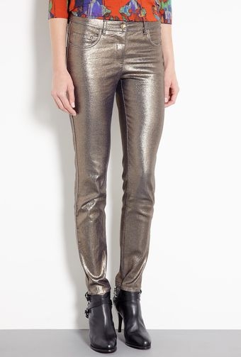 Mw Matthew Williamson Metallic Foil Denim Stretch Skinny Jeans - Lyst