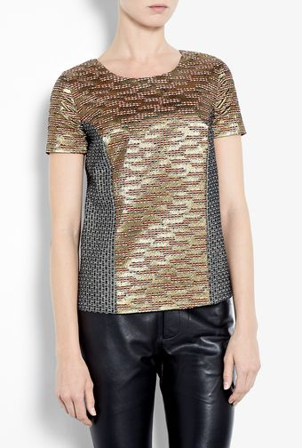 Mw Matthew Williamson Metallic Block Weave Tshirt - Lyst