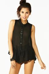 Nasty Gal Ruffled Chiffon Shirt