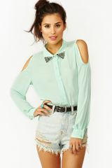Nasty Gal Studded Cutout Blouse Mint - Lyst