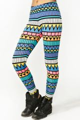 Nasty Gal Neon Aztec Leggings - Lyst