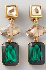 Oscar de la Renta Geometric Crystal Clip Earrings Green - Lyst