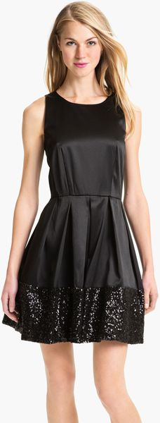 Taylor Dresses Sequin Hem Satin Fit Flare Dress in Black